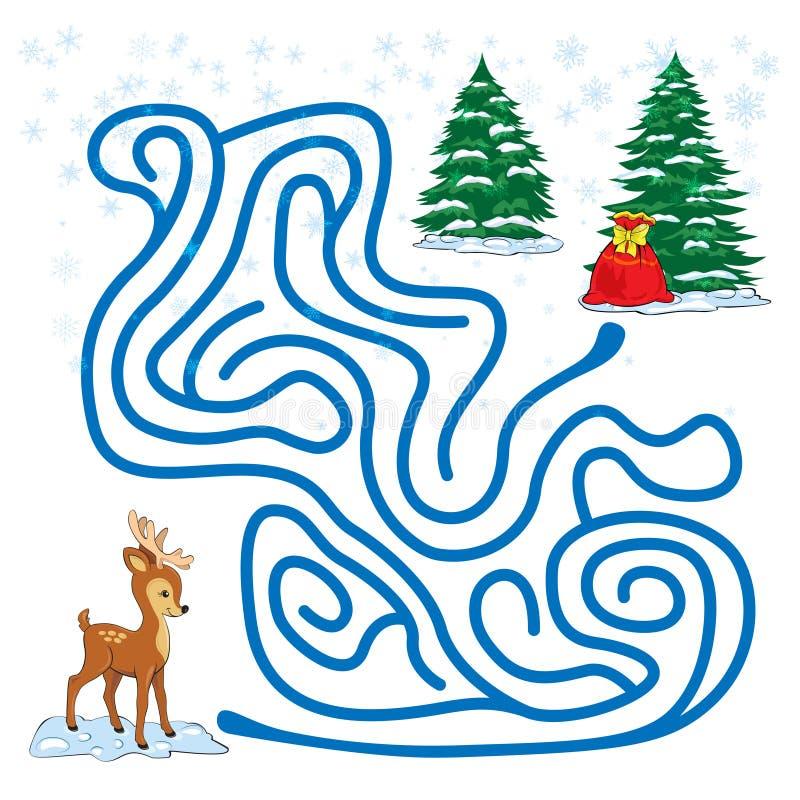 Labyrintleken för ungar med a behandla som ett barn hjortar stock illustrationer