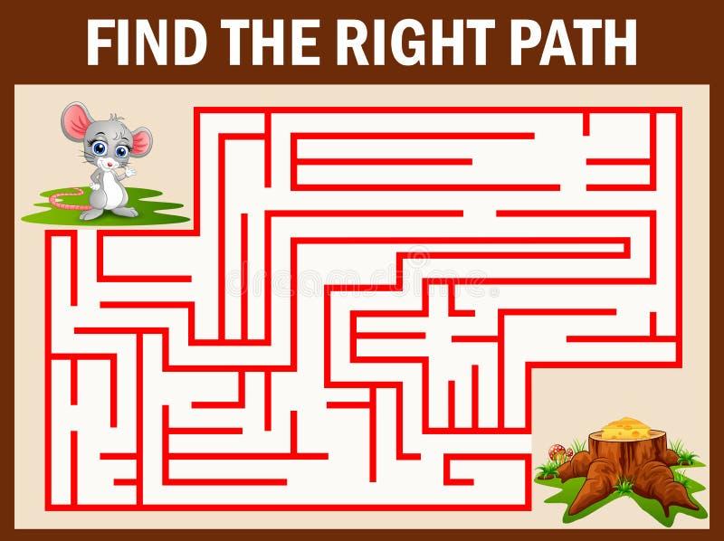 Labyrintleken finner en musväg till ost stock illustrationer