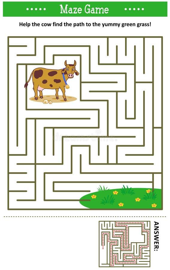 Labyrintleken med mjölkar kon stock illustrationer