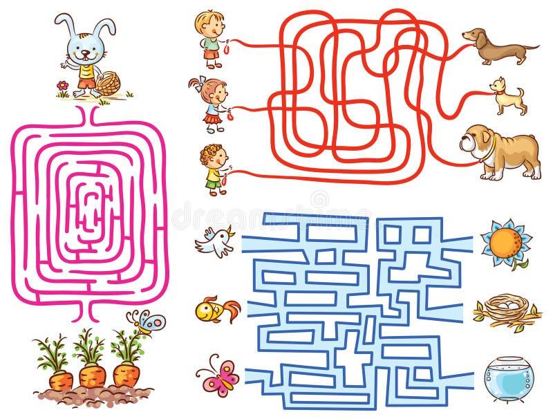 Labyrintlekuppsättning för förskolebarn: finna vägen eller matcha beståndsdelar stock illustrationer