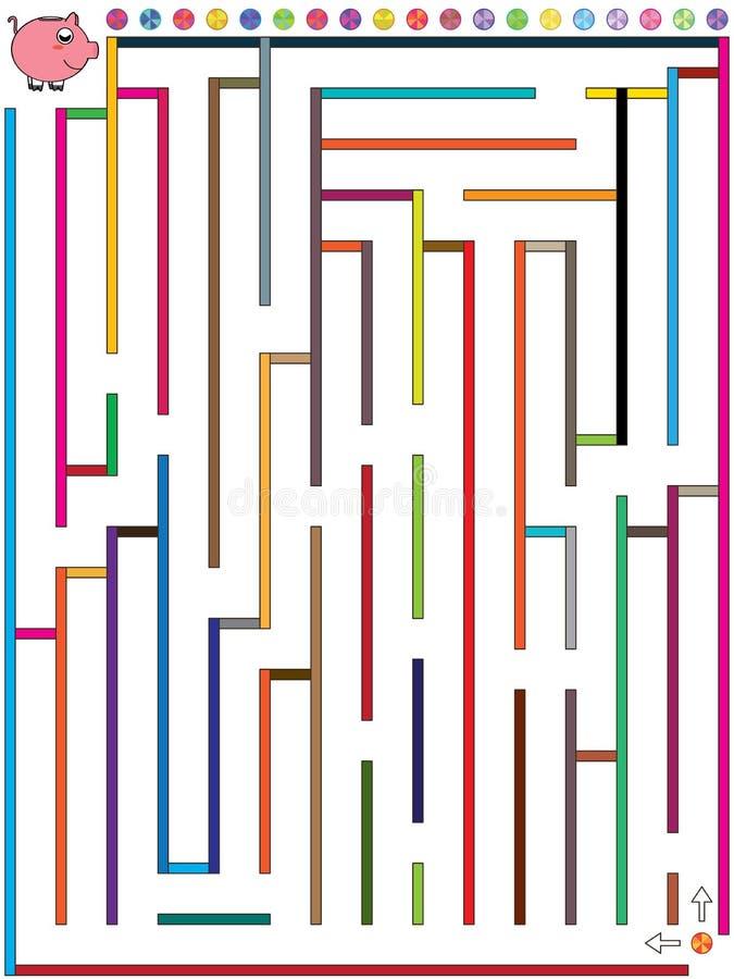 Labyrintmyntet finner Piggy Bank_eps vektor illustrationer