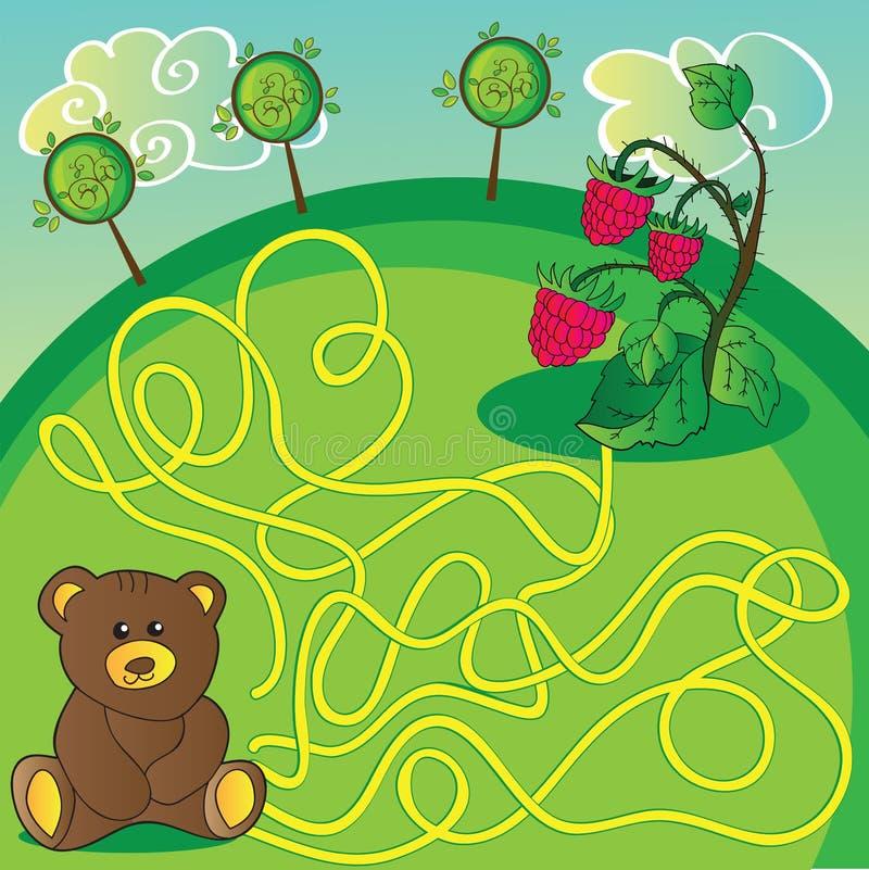Labyrintspel of activiteitenpagina Help de beer om juiste manier te kiezen stock illustratie
