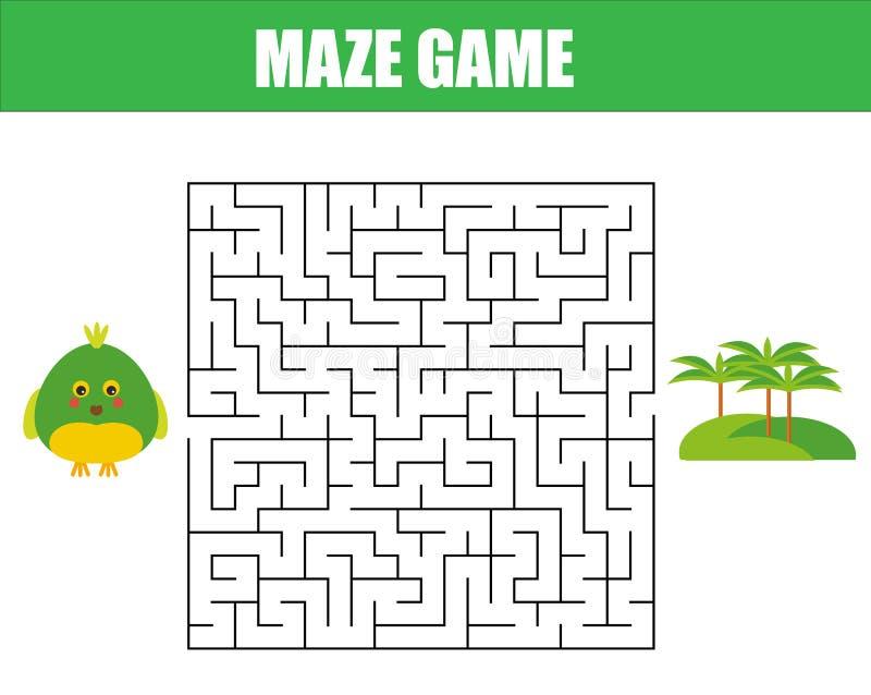 Labyrintspel: dierenthema Het blad van de jonge geitjesactiviteit vector illustratie