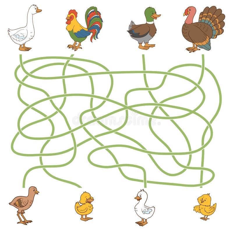 Labyrintspel: help de jongelui hun ouders vinden (landbouwbedrijfvogels: eend, royalty-vrije illustratie