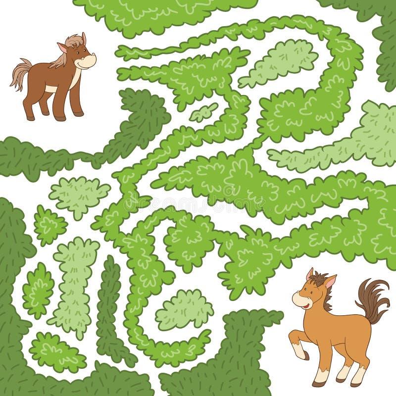 Labyrintspel: help het kleine paard om de manier aan moeder te vinden stock illustratie