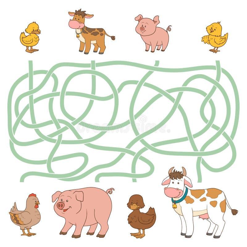 Labyrintspel (landbouwbedrijfdieren - koe, varken, kip, eend) vector illustratie