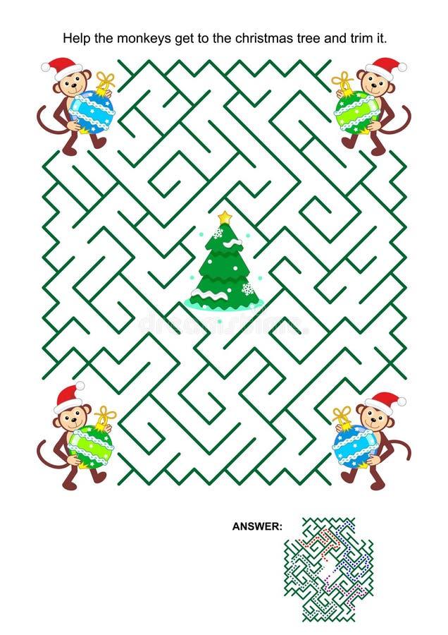 Labyrintspel met de helpers van de aapkerstman, snuisterijen en Kerstmisboom royalty-vrije illustratie
