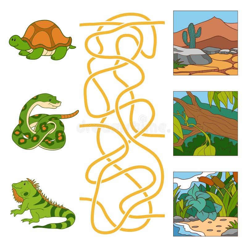 Labyrintspel (schildpad, slang, leguaan en habitat) stock illustratie