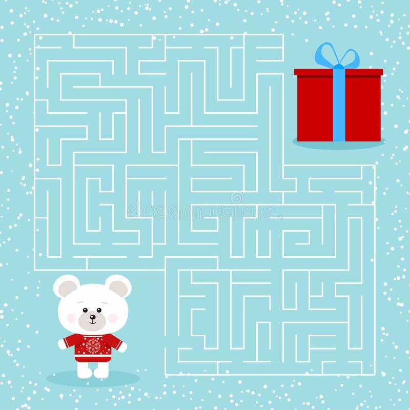 Labyrintspel voor de kinderen met een een Kerstmis ijsbeer en gift van het labyrintbeeldverhaal vector illustratie