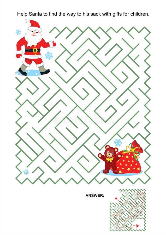 Labyrintspel voor jonge geitjes - Kerstman en zijn zak royalty-vrije illustratie