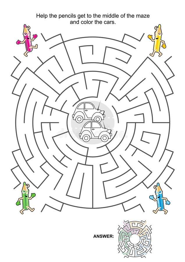 Labyrintspel voor jonge geitjes met auto's, potloden en het kleuren royalty-vrije illustratie