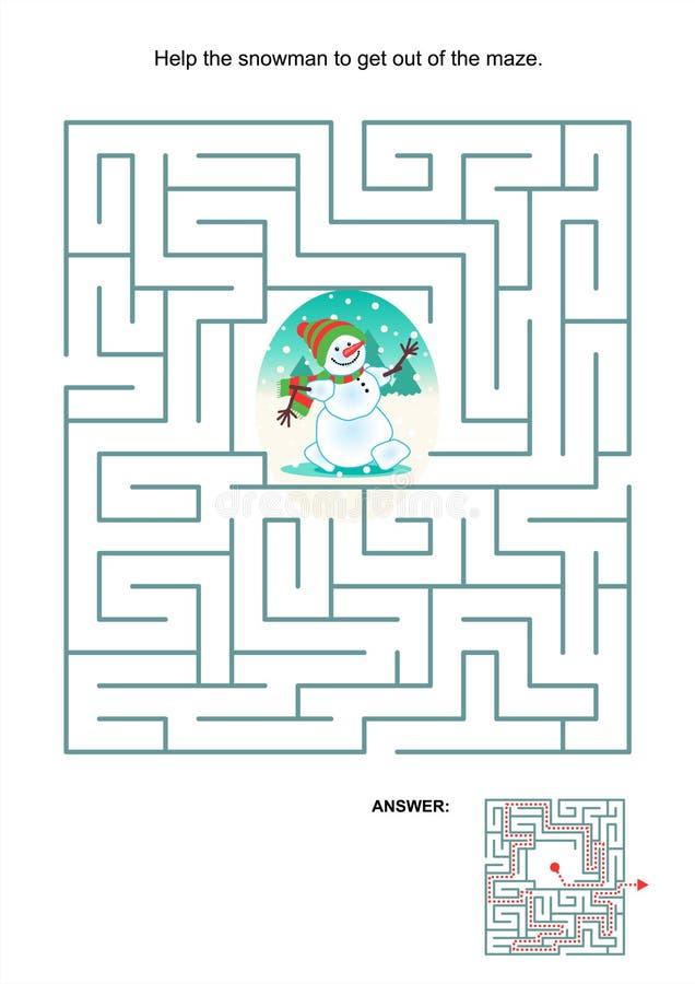 Labyrintspel voor jonge geitjes - sneeuwman royalty-vrije illustratie