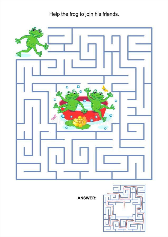 Labyrintspel voor jonge geitjes - speelse kikkers stock illustratie