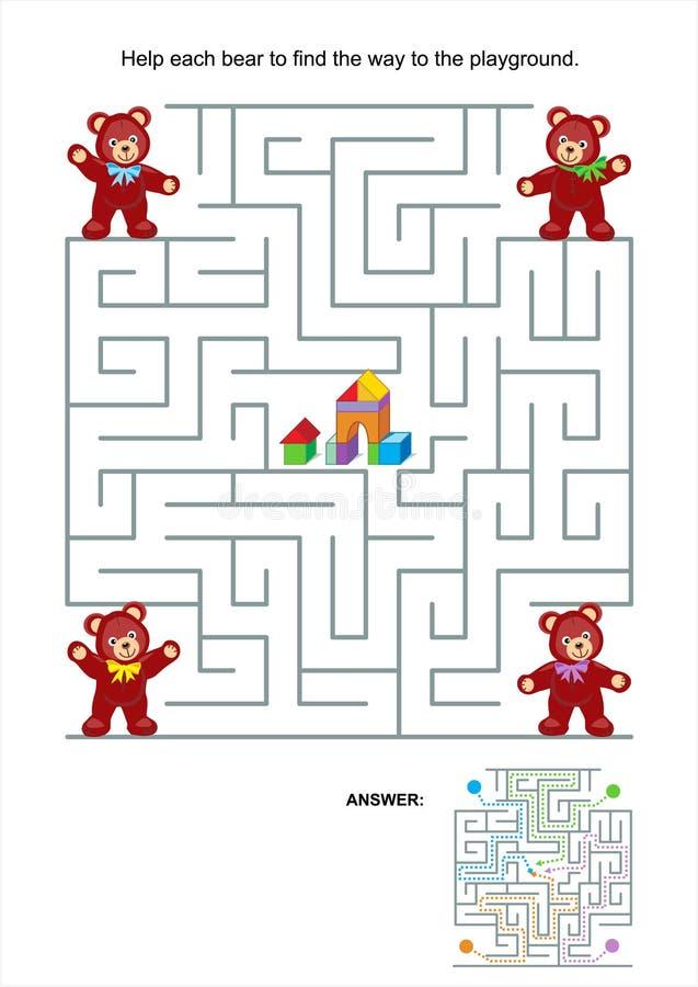 Labyrintspel voor jonge geitjes - teddyberen royalty-vrije illustratie