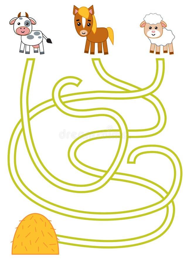 Labyrintspel voor kinderen, Koe, Schapen, Paard en hooiberg royalty-vrije illustratie