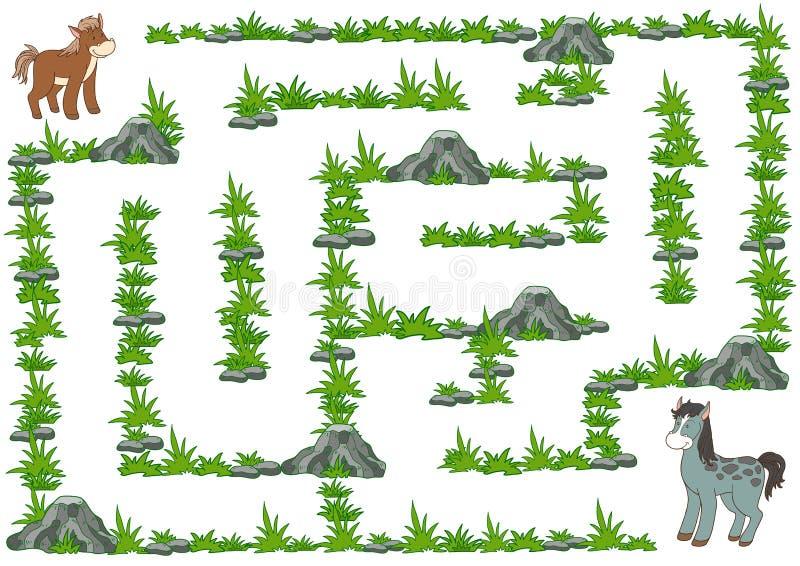 Labyrintspel voor kinderen, Paard stock illustratie