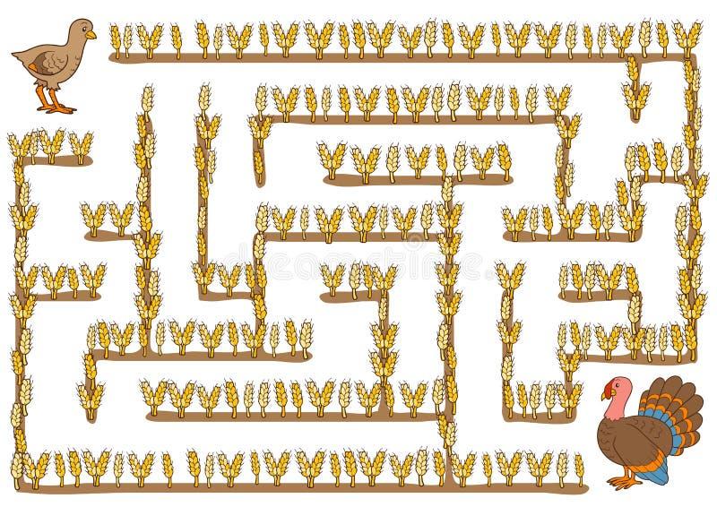Labyrintspel voor kinderen, Turkije royalty-vrije illustratie