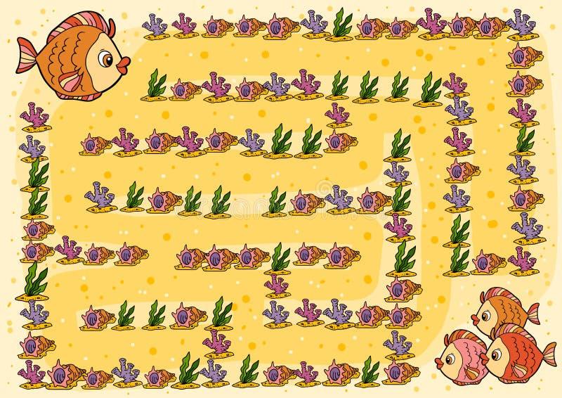 Labyrintspel voor kinderen, Vissen stock illustratie