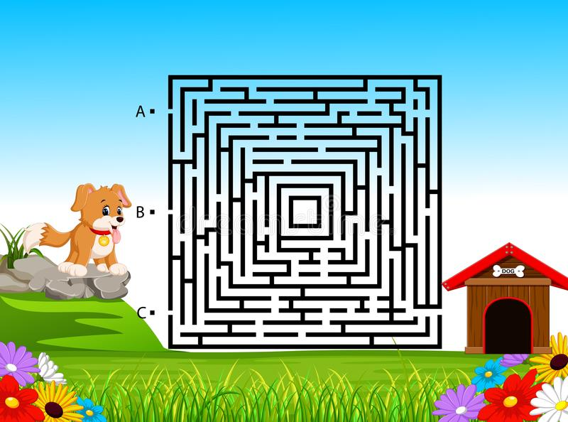 Labyrintspel voor Peuterkinderen met Grappig Hond en Hondehok royalty-vrije illustratie