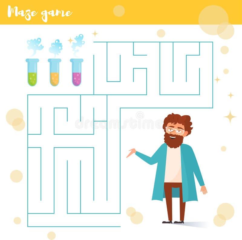 Labyrintspel Wetenschapper, flessen stock illustratie