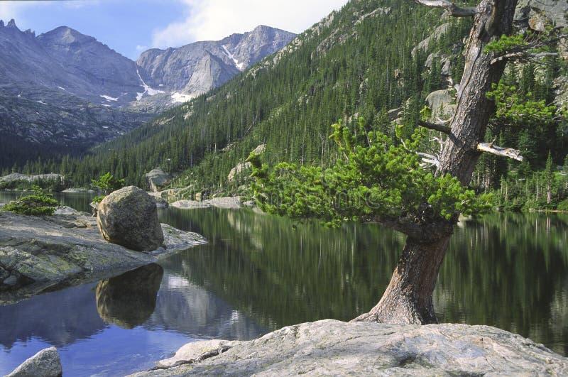 Lac alpestre en montagnes rocheuses photos stock