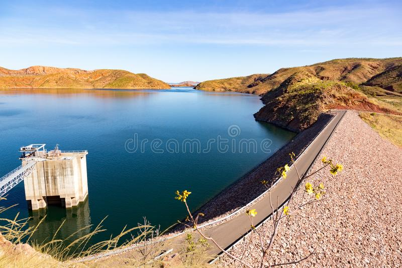 Lac Argyle Dam dans l'intérieur à distance australie photos stock
