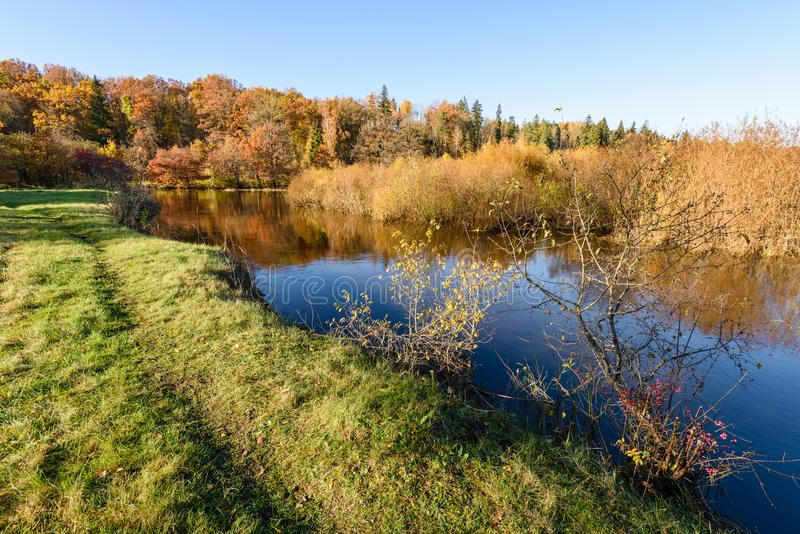lac avec des réflexions de l'eau dans le jour coloré d'automne avec coloré photo libre de droits