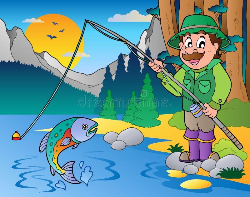 Lac avec le pêcheur 1 de dessin animé illustration de vecteur