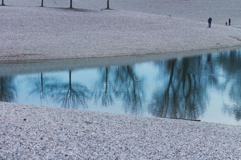 Lac avec le rivage de caillou avec la réflexion des arbres stériles photos libres de droits
