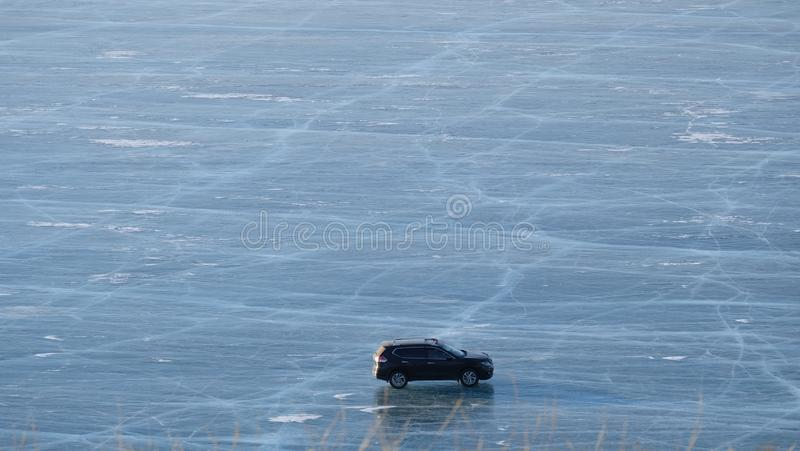 Lac Baikal, route congelée, glace, froid, Russie photo stock