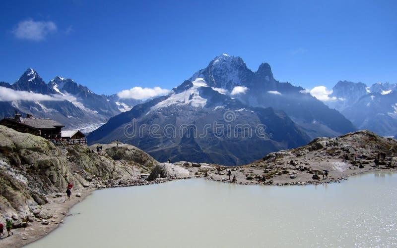 Lac Blanc na tle Alps fotografia stock