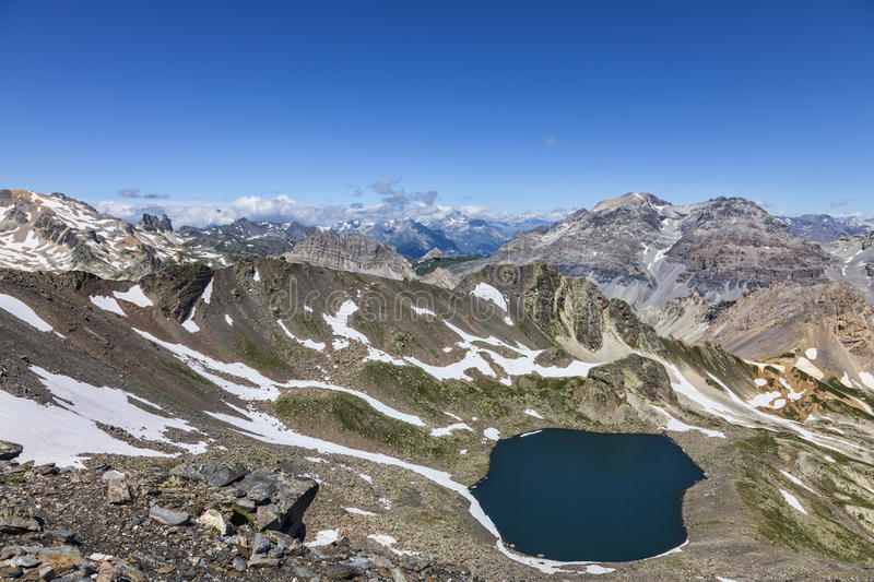 Lac Blanc from Vallee de la Claree, France stock photo