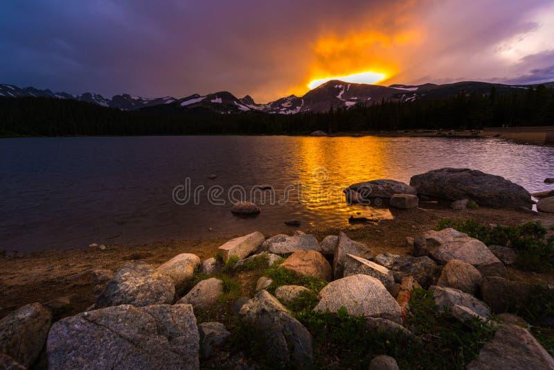Lac Brainard au coucher du soleil images stock