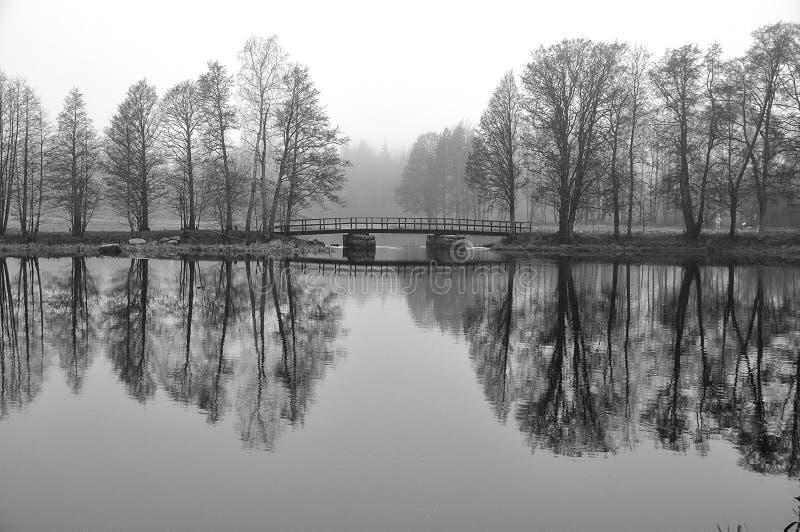 Lac brumeux scénique en hiver photos stock