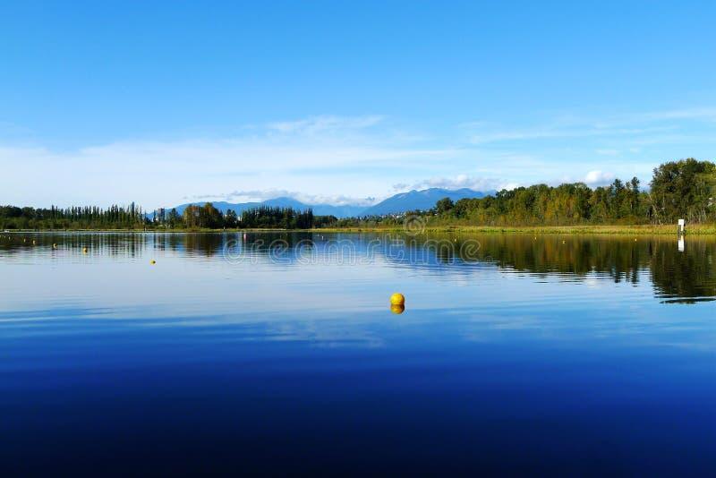 Lac Burnaby avec la réflexion d'arbre en été image libre de droits