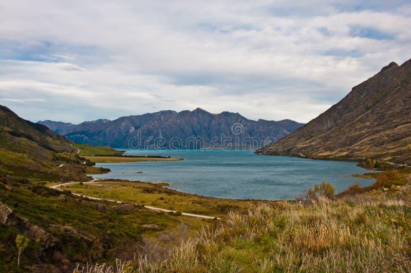 Lac célèbre Hawea dans Wanaka photo libre de droits