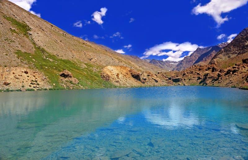 Lac Clearwater dans le désert à haute altitude de montagne de l'Himalaya images libres de droits