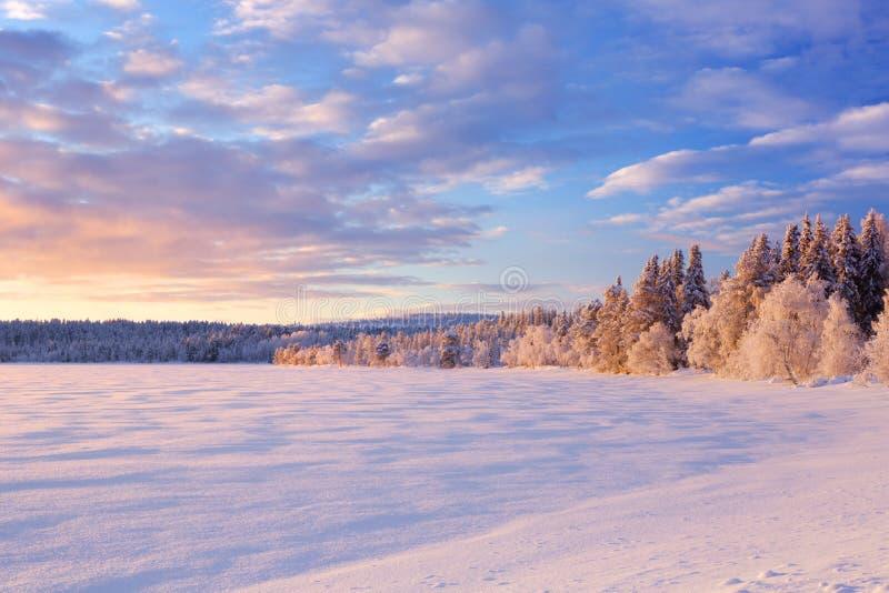 """Lac congelé d'ijäjärvi de """"de à en Laponie finlandaise au coucher du soleil photo stock"""