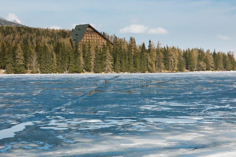 Lac congelé de fonte en montagnes images libres de droits