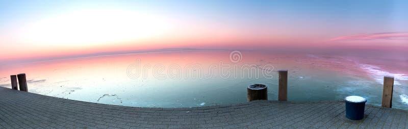 Lac congelé de Hongrie, Balaton photos stock