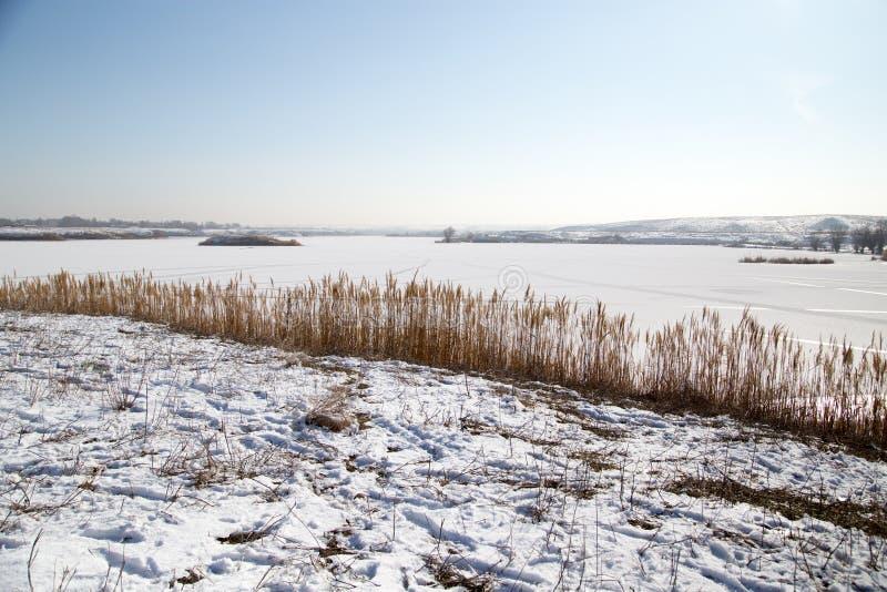 Lac congelé en nature images stock