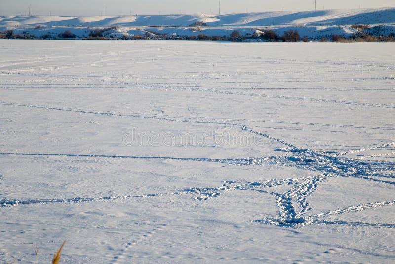 Lac congelé en nature d'hiver photo libre de droits