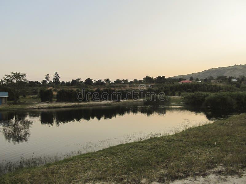 Lac d'Africain de paysage photo stock