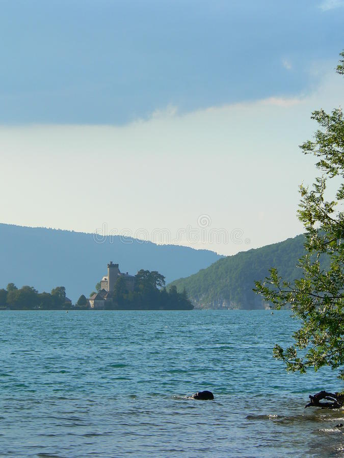 Lac d Annecy ( France ). View of Annecy Lake with the Chateaux de Duingt, Lake Annecy, France stock photography