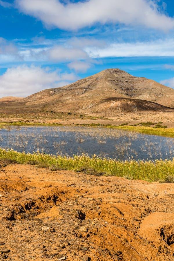 Lac dans des îles d'Intérieur-canari de Fuerteventura, Espagne photographie stock libre de droits