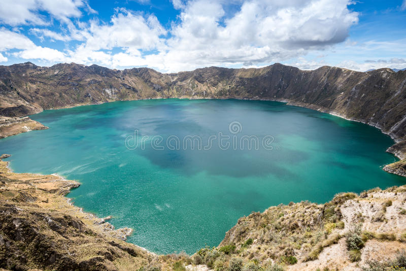 Lac de cratère de Quilotoa, Equateur image libre de droits