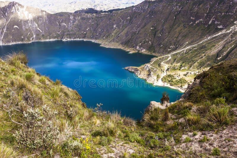 Lac de cratère de Quilotoa, Equateur photos stock