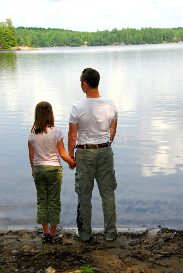 Lac De Descendant De Père Images stock