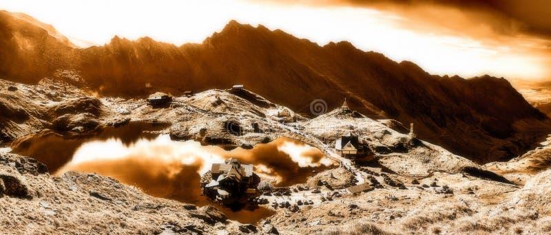 Lac de glacier de Transfagarasan Balea, filtre infrarouge images libres de droits