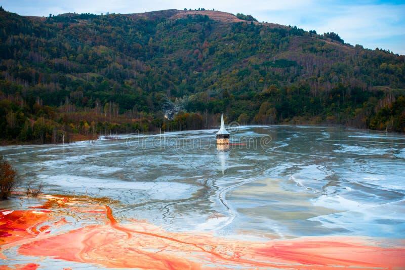 Lac de l'eau de pollution images stock